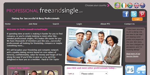 Screenshot of the ProfessionalFreeAndSingle homepage
