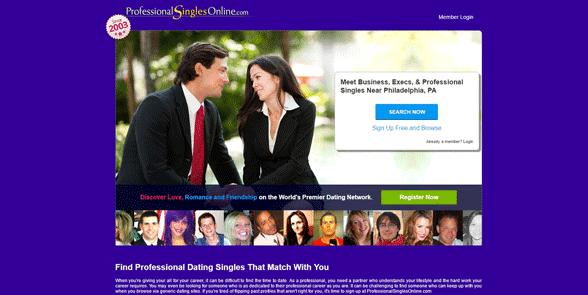 Screenshot of the ProfessionalSinglesOnline homepage