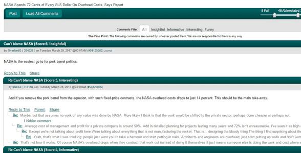 Screenshot of Slashdot's comments section