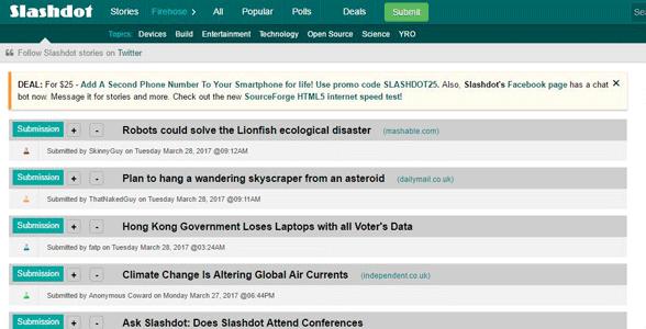 Screenshot of Slashdot's list of articles
