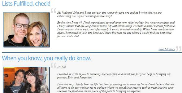Screenshot of Spiritual Singles' Success Stories
