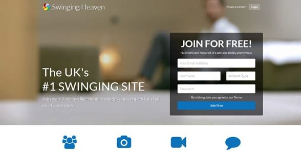 Screenshot of the SwingingHeaven homepage
