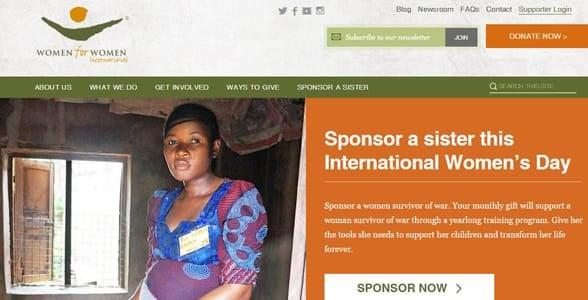 Screenshot of Women for Women International's homepage
