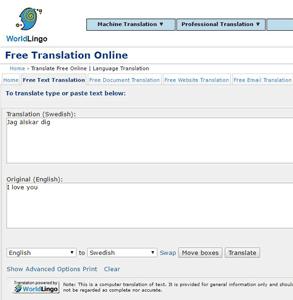 Screenshot of WorldLingo.com