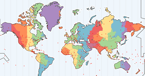 Screenshot of Time and Date's interactive time zone map