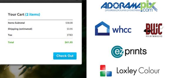 Screenshot of PhotoShelter checkout and fulfillment partner logos