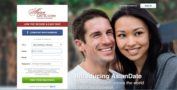 Screenshot of AsianDate's homepage
