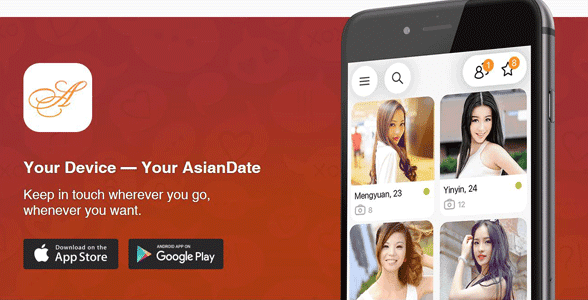 Screenshot of AsianDate's mobile page