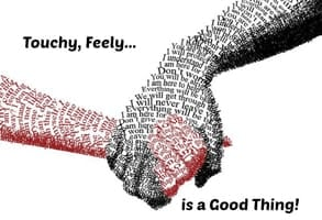 Photo of clasped hands made of words