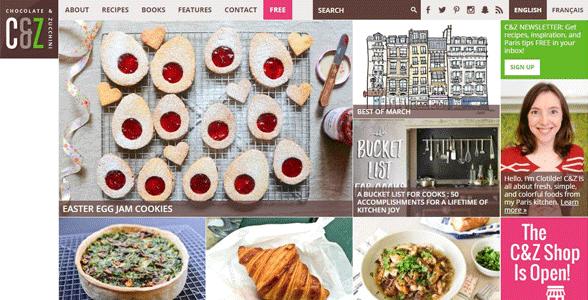 Screenshot of the Chocolate & Zucchini homepage