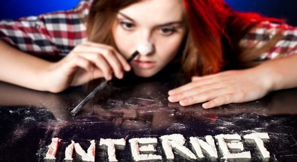 Photo of someone addicted to the internet