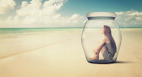 Photo of a woman in a jar
