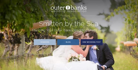 Screenshot of the Outer Banks Wedding Association's homepage