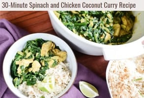 Screenshot of the recipe for spinach and chicken coconut curry