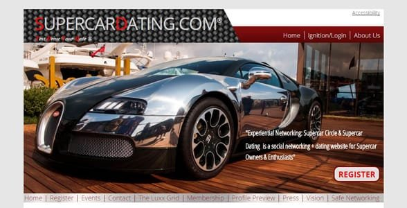 Screenshot of Supercar Dating's homepage