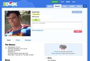 Screenshot of Superman's Zoosk profile