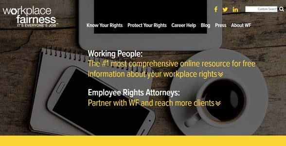 Screenshot of the Workplace Fairness homepage