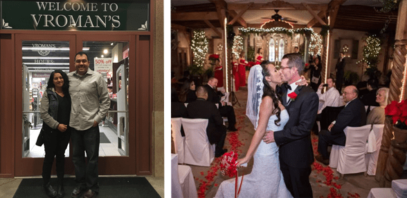 Photo collage of a couple in front of Vroman's and a couple who met at Vroman's getting married