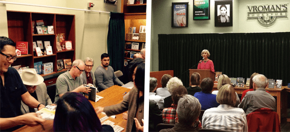 Photo collage of people attending Vroman's events
