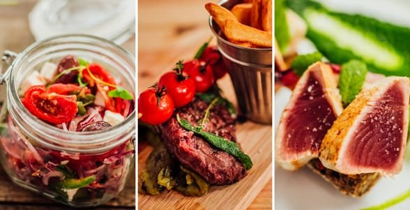 Photo collage of different dishes offered at the OUIBar + KTCHN