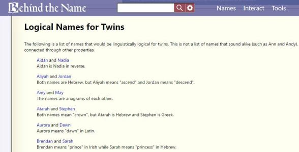 Screenshot of Behind the Name's list of names for twins