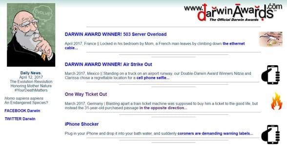 Screenshot of the Darwin Awards homepage