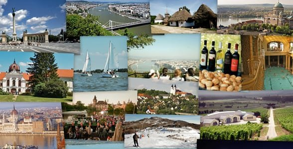 Photo collage of Hungary's tourist attractions