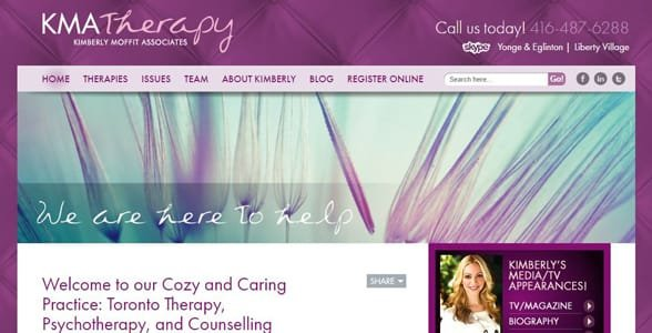 Screenshot of KMA Therapy's website