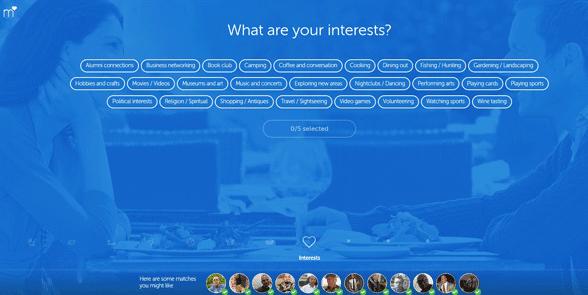 Screenshot of Match's signup process