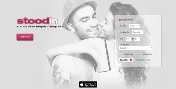 Screenshot of Stoodin's homepage
