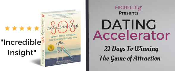 Collage of Michelle G.'s book and the Dating Accelerator online resource