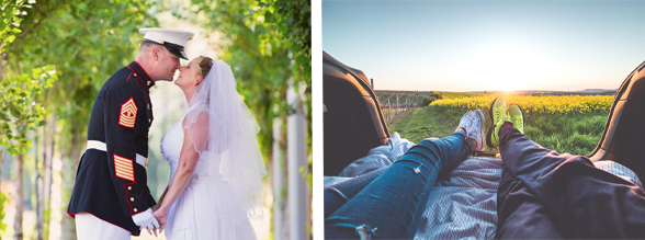 Collage of a couple on their wedding day and a couple relaxing in nature.