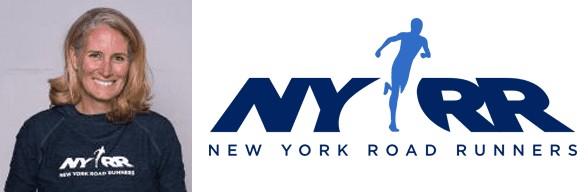 Christine Burke's headshot and the NYRR logo