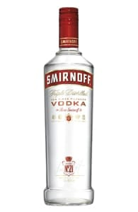 Photo of a bottle of Smirnoff vodka