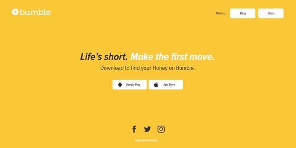 Screenshot of the Bumble homepage