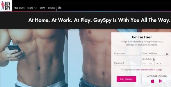Screenshot of the GuySpy homepage