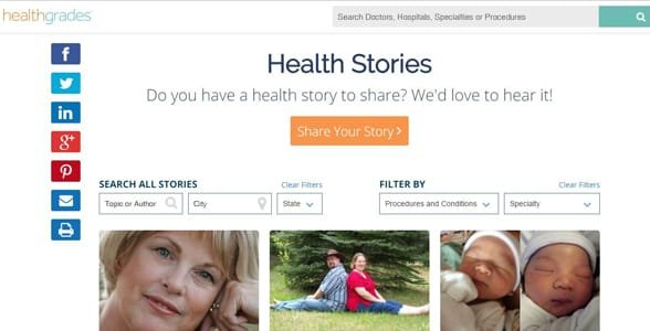 Screenshot of the Healthgrades Health Stories section