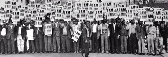 Photo of protesters carrying I AM A MAN signs in 1968