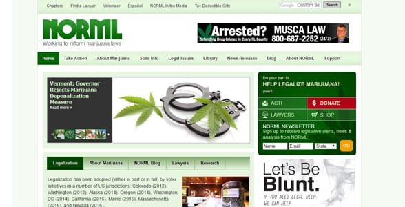 Screenshot of NORML's homepage