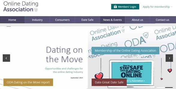 Screenshot of the ODA's homepage