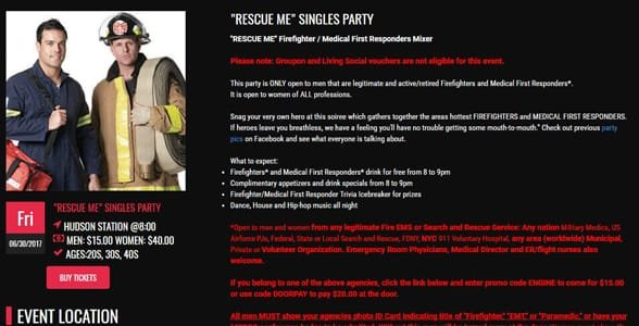 Screenshot of On Speed Dating's Rescue Me Singles Party event page