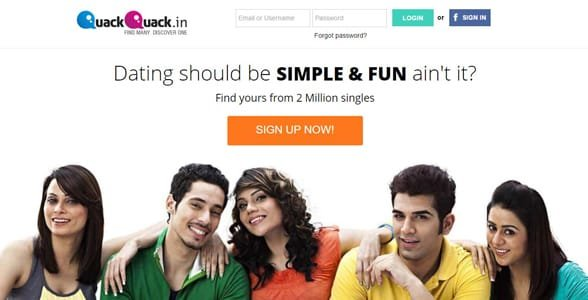 Screenshot of QuackQuack's homepage