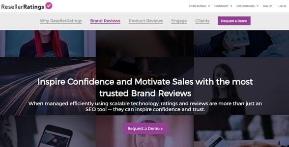 Screenshot of the ResellerRatings homepage