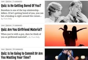 Screenshot of Vixen Daily's quizzes