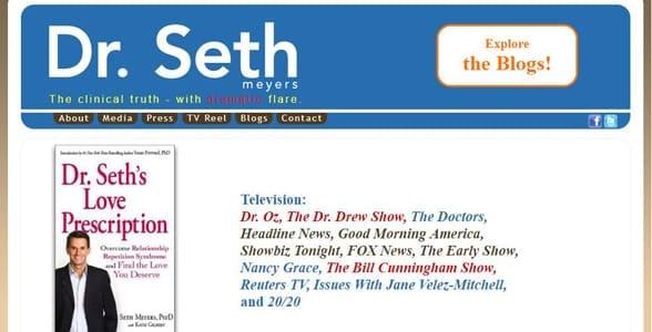 Screenshot of Dr. Seth's website