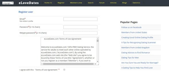 Screenshot of eLoveDates registration