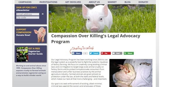 Screenshot of Compassion Over Killng's Legal Advocacy page