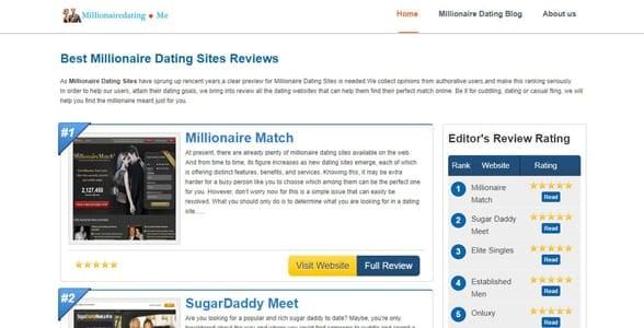 Screenshot of MillionaireDating.me's homepage