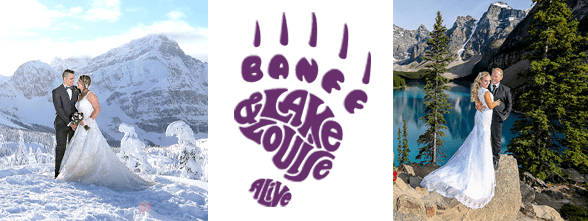 Photo collage of two couples getting married in the winter and summer and the Banff & Lake Louise logo
