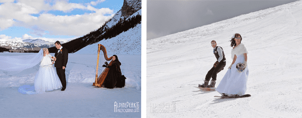 Collage of a couple on a mountain and a harp player and a couple snowboarding on their wedding day